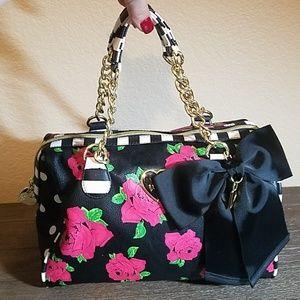 Betsey Johnson Floral & Stripe Purse